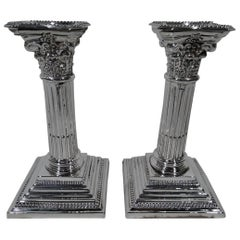 Pair of Antique English Sterling Silver Classical Column Candlesticks