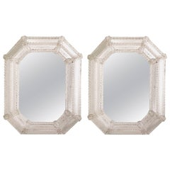 Two Italian Modern Neoclassical Etched Venetian/Murano Glass Octagonal Mirrors