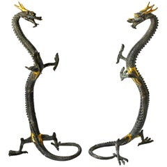 Pair of Bronze Dragons, Large, Standing