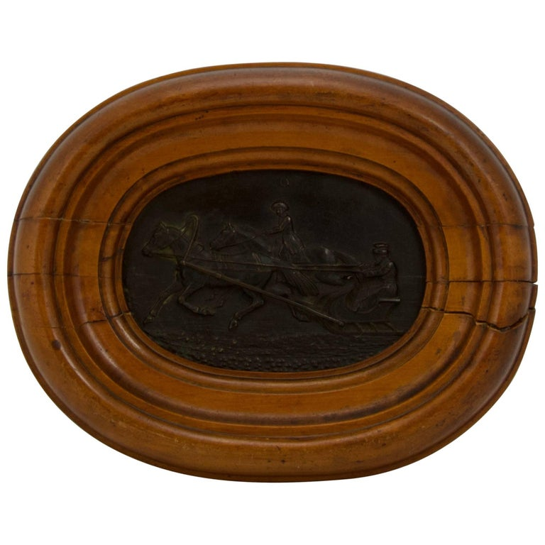 Antique Russian Bronze in Wood Frame