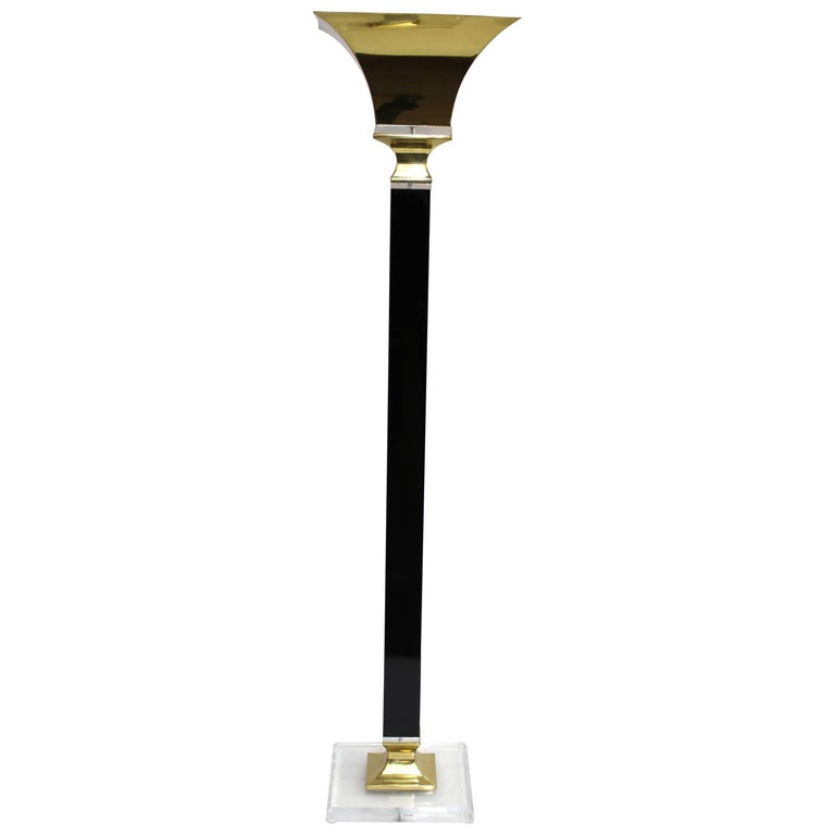 Art Deco Style Torchere Floor Lamp on Lucite Base