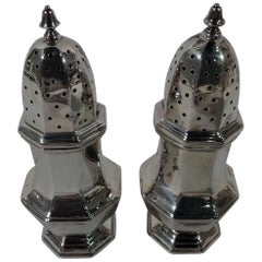 Pair of English Art Deco Sterling Silver Salt and Pepper Shakers