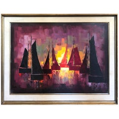 Mid-Century Oil on Canvas of Sailboats