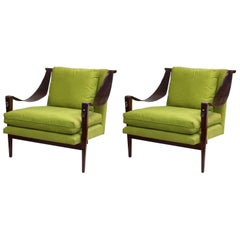 Enfield Chairs with Leather Swing Arms and Chartreuse Green Upholstery