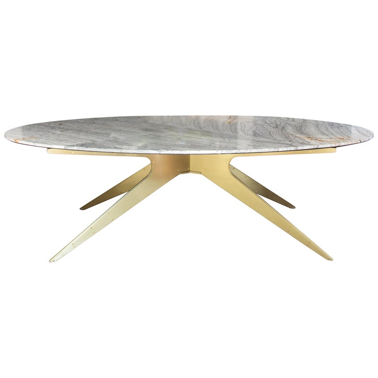 Dean Oval Dining Table with Grey Marble Top and Satin Brass or Black Steel Legs  For Sale