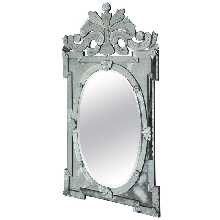 1940s Monumental Venetian Mirror with Hand Etched Designs For Sale