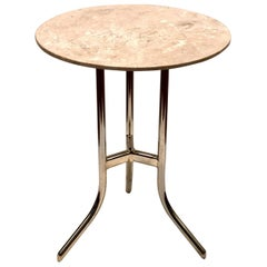 Chrome and Marble Cedric Hartman Style Side Table