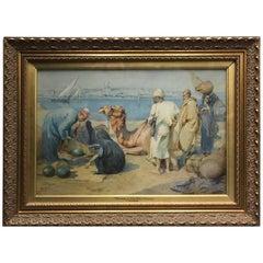 """Tony Binder 1868-1944 """"Cairo"""" Orientalist Watercolor"""