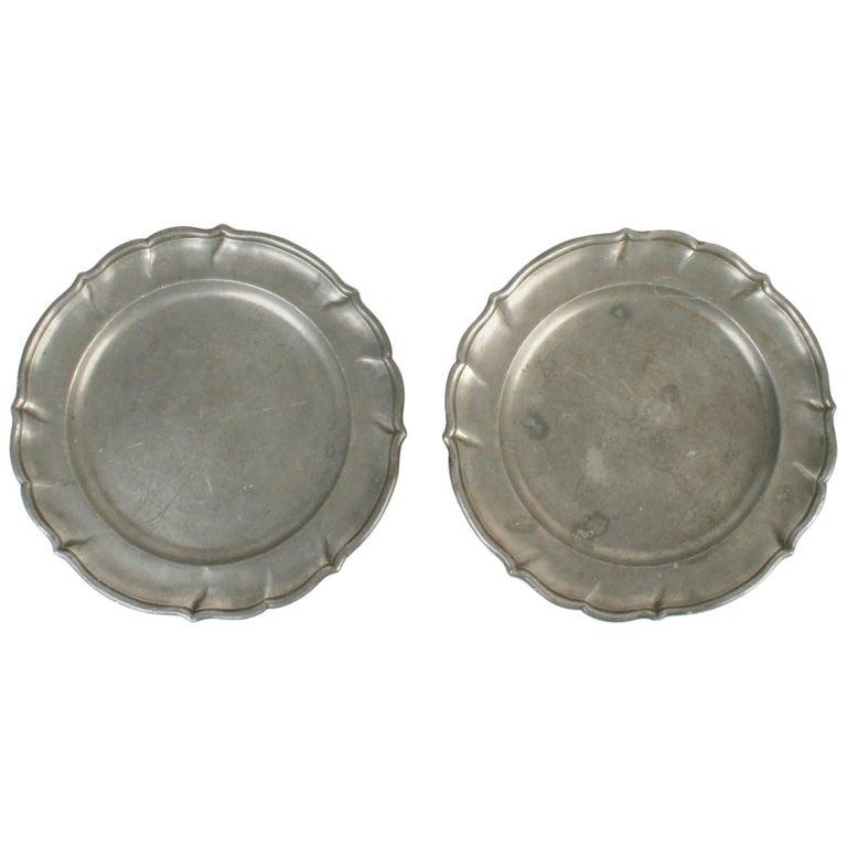 Pair of 18th Century German Pewter Plates