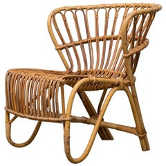 Franco Albini Inspired Low Back Bamboo Armchair