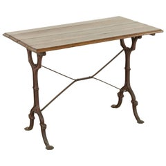 French Cast Iron Bistro Table or Cafe Table with Oak Top, circa 1900