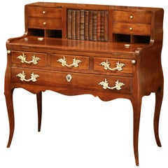 18th Century French Louis XV Walnut Bombe Ladies Desk Table with Faux Book Door