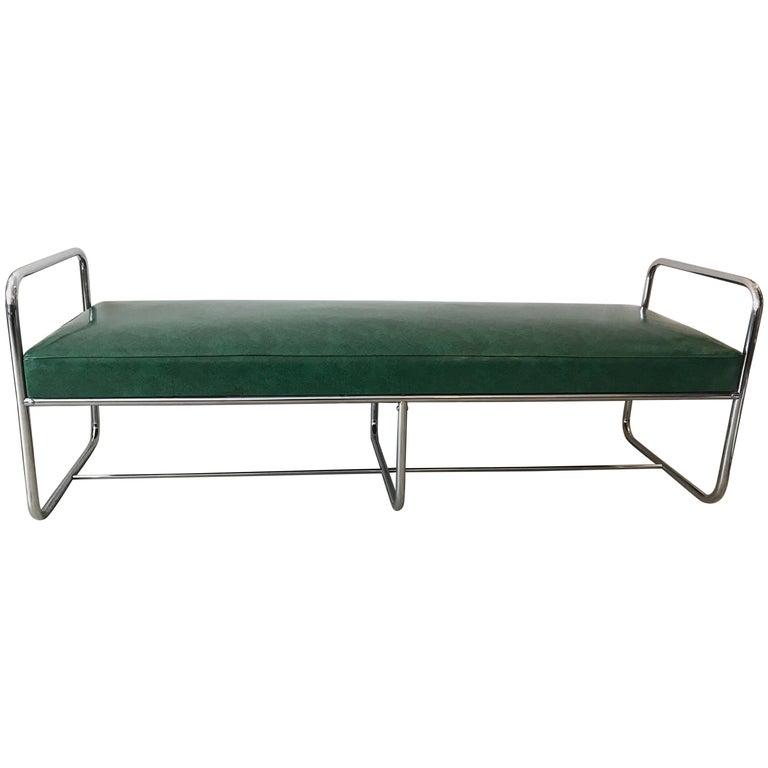 Chrome Streamline Modern Bench, Green Vinyl in the Style of KEM Weber, 1930's