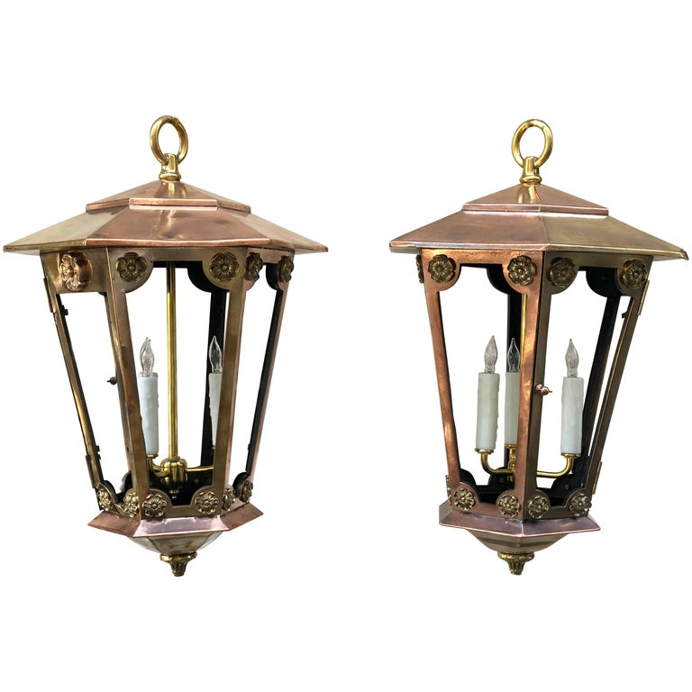 Pair of Late 19th Century New York Copper and Brass Gas Lanterns