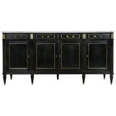 Midcentury French Louis XVI Buffet with White Marble Top and Bronze Detailing