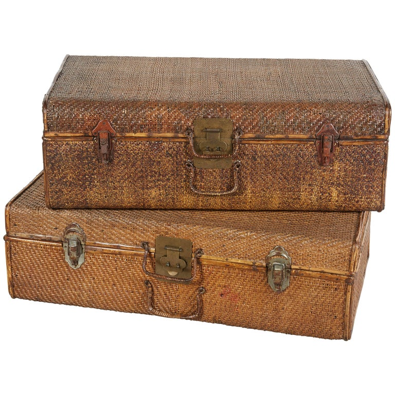 Set of Handmade Rattan Suitcases with Perfectly Finished Wooden Interiors
