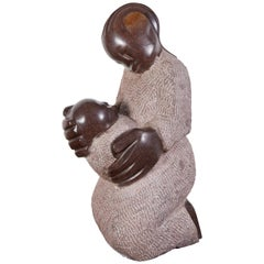 "Carved Stone Shona Sculpture, ""Mother and Child"""
