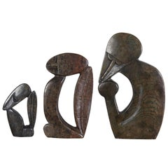 Set of Three-Stone Shona Sculptures