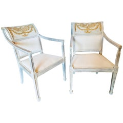 Pair of Swedish and Parcel Gilt Decorated Armchairs in New Fabric