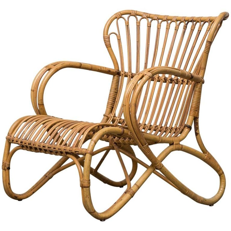 Low Midcentury Bamboo Lounge Chair