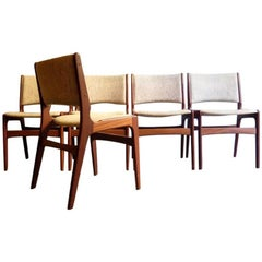 Five Teak Danish Dinning Chairs with Thick Linen Fabric