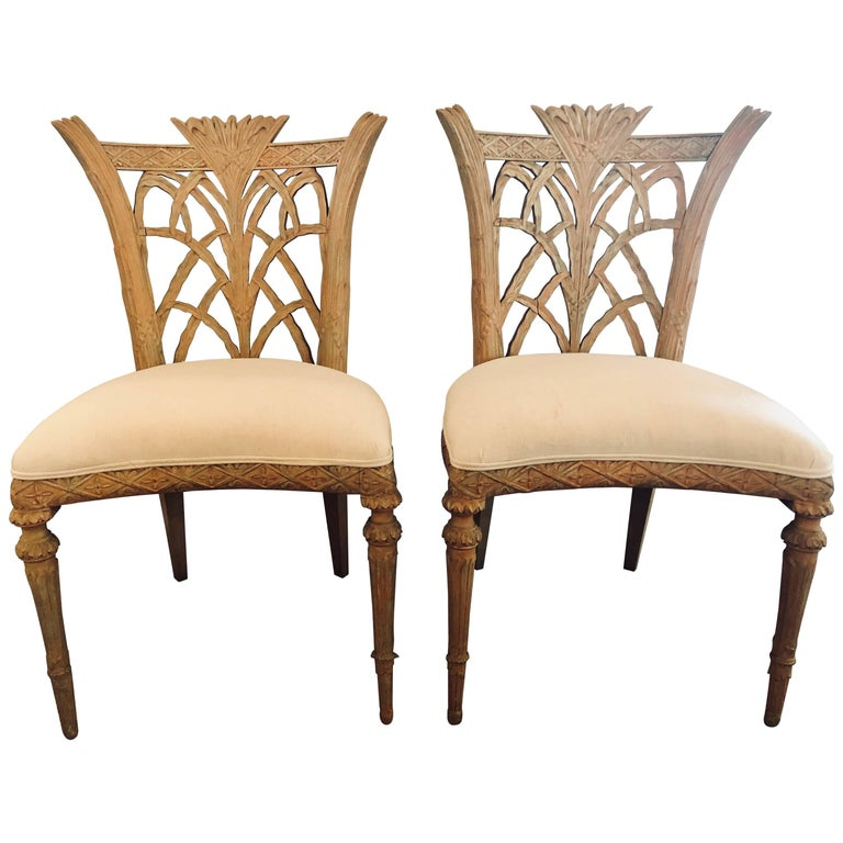 Pair of Hollywood Regency Maison Jansen Palm Tree Form Carved Side Chairs