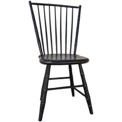 Late 19th Century Black and Gold Painted Windsor Chair by William Wilt