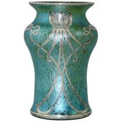 Kobaltblaue Vase mit Silber-Überzug von Joh. Loetz Witwe, Jugendstil, 1900