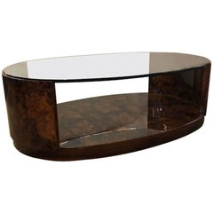 Midcentury French Oval Coffee Table in Walnut