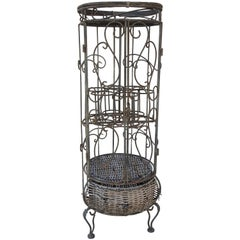 Mid-Century Iron and Wicker Wine Rack