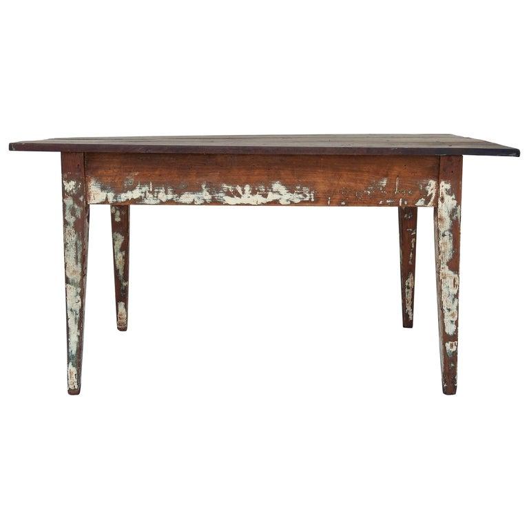 Early 20th Century Primitive Walnut Farm Table For Sale