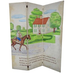 Eli Terry Clockmaker Hand-Painted Room Divider with Horse Scene