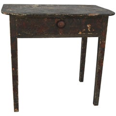 Late 19th Century Primitive Folk Art Decoupage Work Table