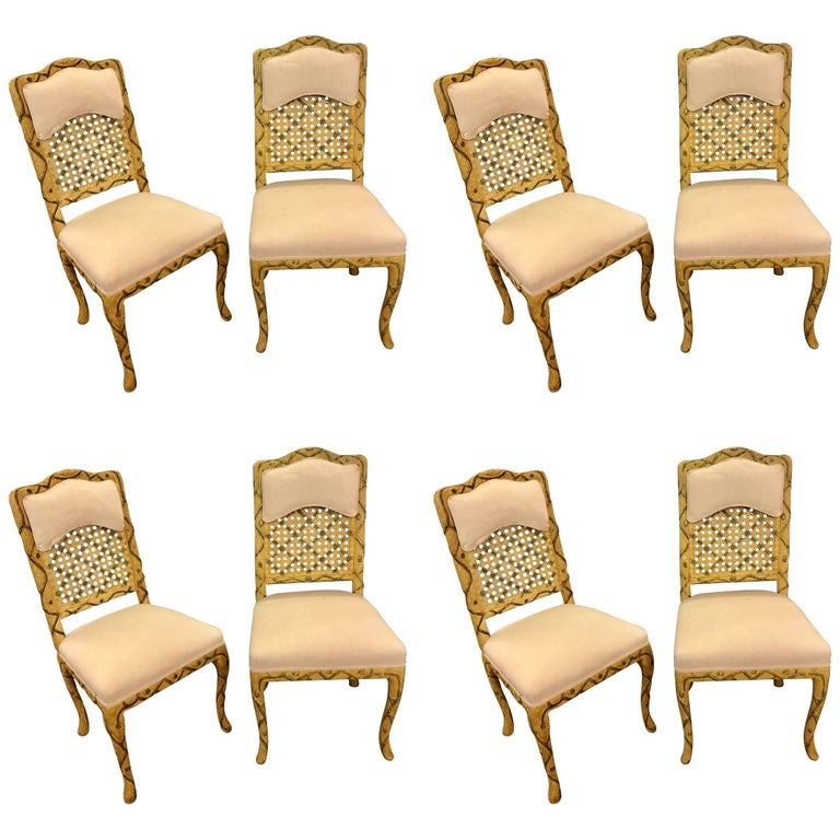 Set of Eight Hollywood Regency Style Tree Trunk Carved Dining Chairs Painted For Sale
