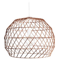 Contemporary Wire Array Pendant in Copper by Bend Goods