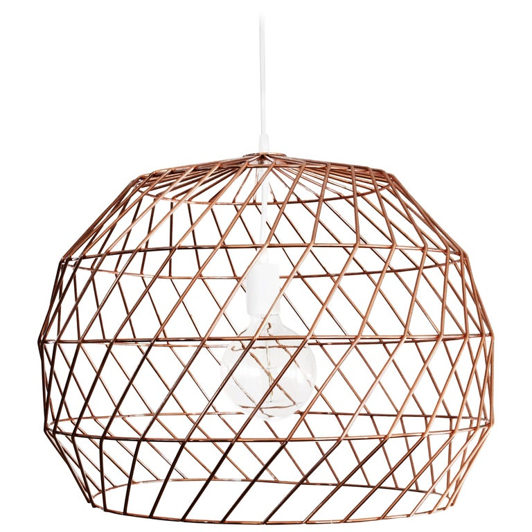 Contemporary Wire Array Pendant in Copper by Bend Goods For Sale