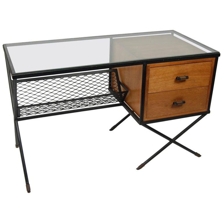 Muriel Coleman Iron, Wood an Glass Desk, Early 1950s California Modernist Design