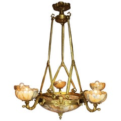 French 20th Century Art Deco Style Bronze and Alabaster Five-Light Chandelier
