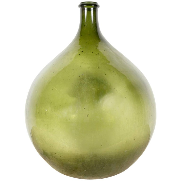 Very Large 19th Century Handblown Green Glass French Demijohn Bottle