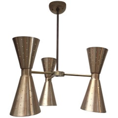 Modernist Six-Lights Arms Chandelier by Gerald Thurston for Lightolier, 1950
