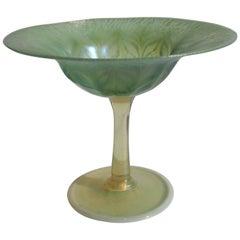 L C Tiffany Art Nouveau Green and Opal Pastel Favrile Compote