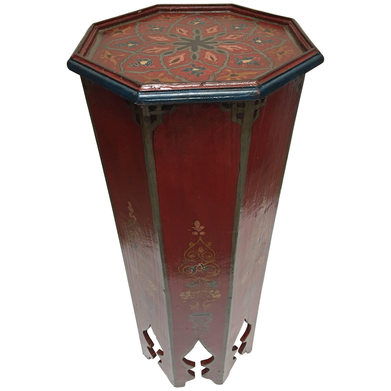 Hand-Painted Moroccan Moorish Pedestal Table
