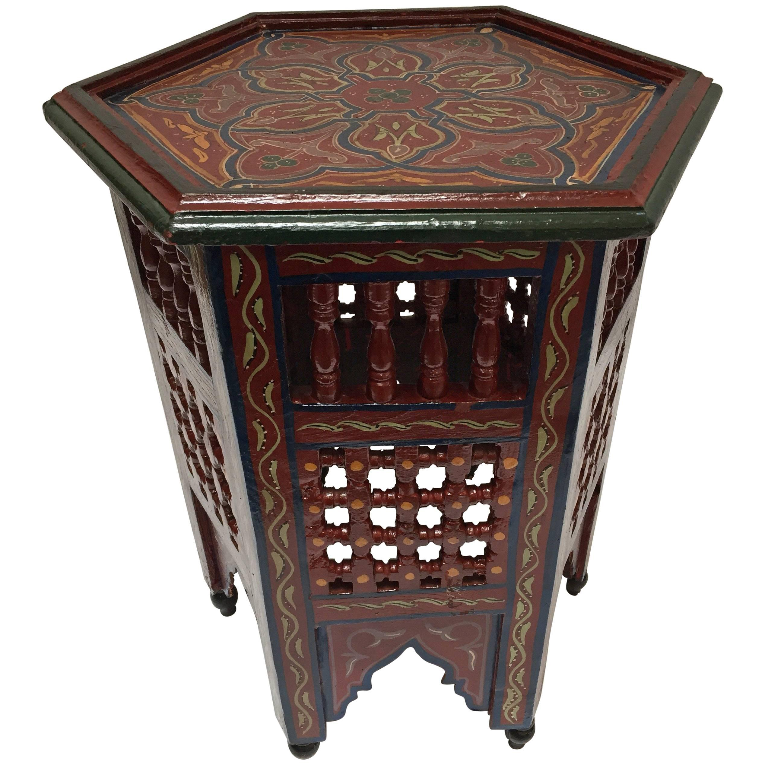 Moroccan Hand Painted Side Table With Moorish Designs For Sale