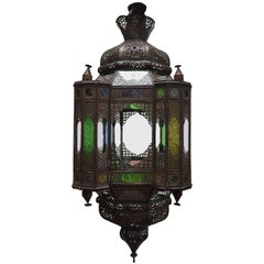 Moroccan Moorish Light Fixture with Clear and Colored Glass