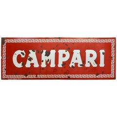 1960s Red Enamel Metal Vintage Italian Campari Sign