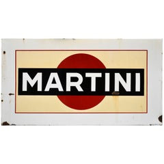 1960s Enamel Metal Vintage Belgian Martini Sign