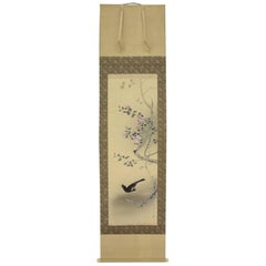 Japan Crested Myna Bird and Flowers Hand-Painted Silk Scroll, Domoto