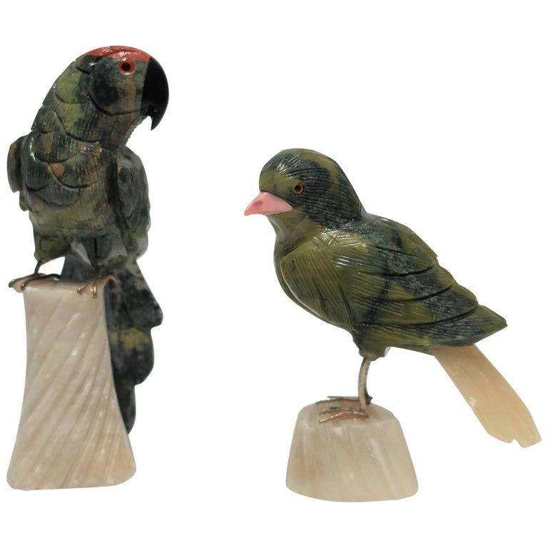 Set of Green and Multicolored Onyx Birds