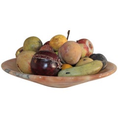 Alabaster Bowl with 25 Pieces Stone Fruit Collection