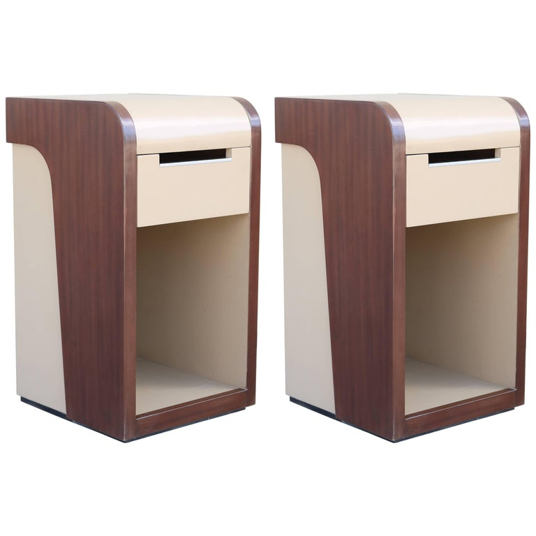Pair of Two-Tone Midcentury Nightstands For Sale